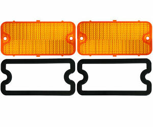 2 1967 1968 Chevy Truck Parking Light Lenses With Gaskets Amber Lens Pair