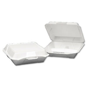 Foam Hinged Container 3 compartment Jumbo 10 1 4x9 1 4x3 1 4 White 100 ba