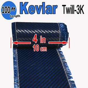 4 In X 100 Ft Made With Kevlar carbon Fiber Aramid Fabric 3k 2k 200g Blue
