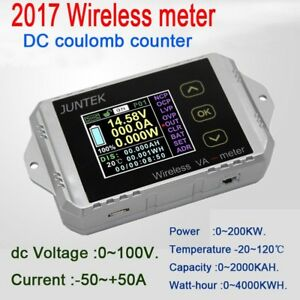 50a Wireless Voltmeter Ammeter Battery Monitor Capacity Power Coulomb Counter