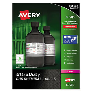 Avery Ghs Chemical Waterproof Uv Resistent Labels Laser 2 X 4 500 box