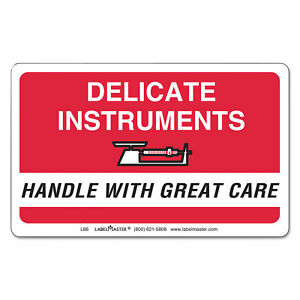 Shipping handling Self adhesive Label 2 1 4 X 4 Delicate Instruments 500 ro