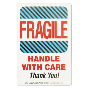 Shipping Self adhesive Label 5 7 8 X 4 1 2 Fragile handle With Care 500 rol