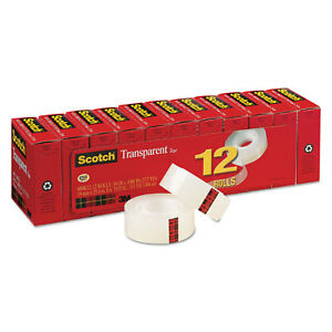 3m commercial Tape Div Transparent Tape 3 4 X 1000 1 Core Clear 12 pack