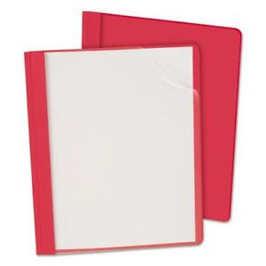 Clear Front Report Cover 3 Fasteners Letter 1 2 Capacity Red 25 box