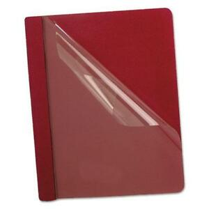 Esselte Premium Paper Clear Front Cover 3 Fasteners Letter Red 25 box
