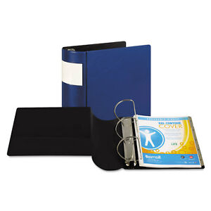 Dxl Heavy duty Locking D ring Binder With Label Holder 5 Cap Dark Blue