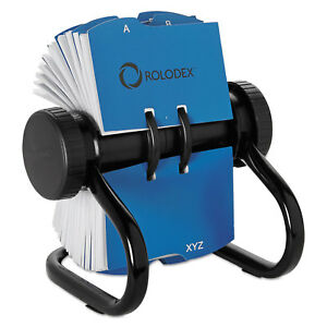 Rolodex Open Rotary Business Card File W 24 Guides Black