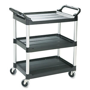Economy Plastic Cart Three shelf 18 5 8w X 33 5 8d X 37 3 4h Black