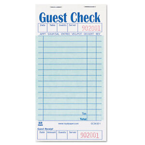 Royal Paper Products Guest Check Book 3 1 2 X 6 7 10 50 book 50 Books carton