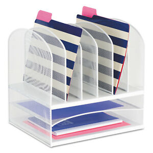 Safco Mesh Desk Organizer Eight Sections Steel 13 1 2 X 11 3 8 X 13 White