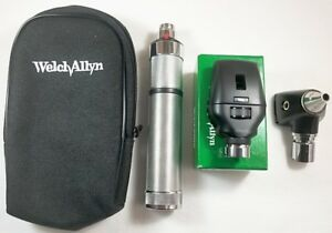 Welch Allyn 3 5v Diagnostic Set 25020a Otoscope 11710 Ophthalmoscope Pouch
