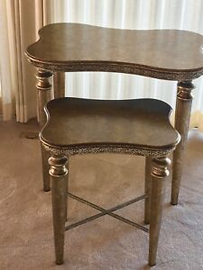Great Looking Stacking Antique Gold Tables By Artmax