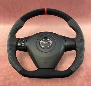 Flat Bottom Steering Wheel Mazda Rx8 R8 Style Extra Padding Alcantara Leather