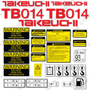 Takeuchi Tb 014 Mini Excavator Decals Equipment Decals Tb014 Tb 014 Tb14 Tb 14