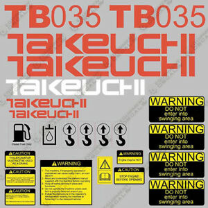 Takeuchi Tb 035 Mini Excavator Decals Equipment Decals Tb035 Tb 035 Tb35 Tb 35