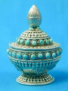 Antique Tibetan Tibet China Chinese Sterling Silver Turquoise Snuff Bottle Box