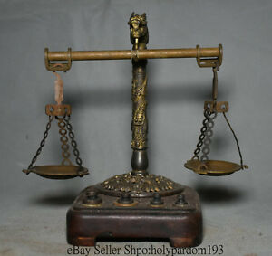 7 2 Old Chinese Dynasty Copper Palace Balance Steelyard Beam Lever Scale Statue