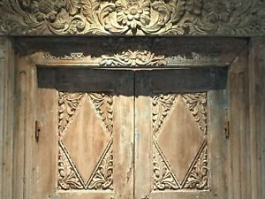 Antique Carved Doors From Bali Teal Peach