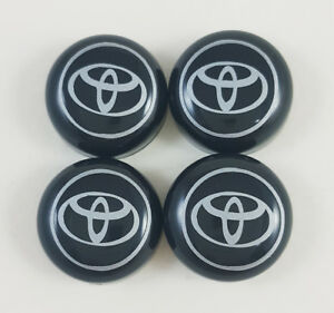 Black Bolt Cover License Plate Frame Screw Caps Toyota Decal 4pcs Set