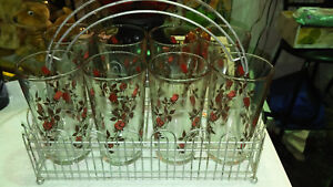 Mid Century Retro Drinking 8 Glasses Roses With Picket Fence Style Holder