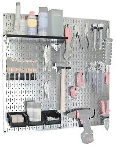 Steel Pegboard Organizer Galvanized Wall Control Panel Tool Storage Garage Shop