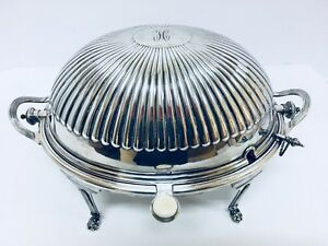 Antique Mappin Webb Victorian Silverplate Roll Top Dome Serving Dish Pre1900