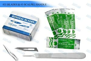 100 Scalpel Blades 11 Pack Scalpel Handle 3 Surgical Knife Dermaplaning