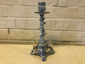 Antique Possibly Dresden Porcelain Blue And White Candle Holder With Tree Dec