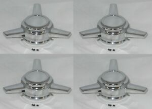 Tri bar Spinner Chrome Wheel Rim Center Caps Adjustable Bore Dia 3 05 To 3 30