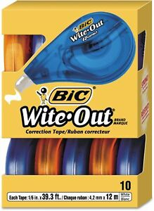 Bic Wite out Ez Correct Correction Tape Non refillable 1 6 X 472 10 count