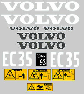 Volvo Ec35 Digger Complete Decal Sticker Set With Safety Warning Decals