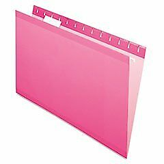 Reinforced Hanging Folders 1 5 Tab Legal Pink 25 box