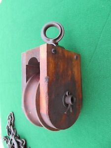 Antique Farm Hay Barn Wood Pulley Early Square Nut Bolts Nice