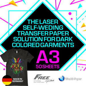 Heat Transfer Paper Laser Self weeding Trim Free Style For Dark A3 50 Sheets