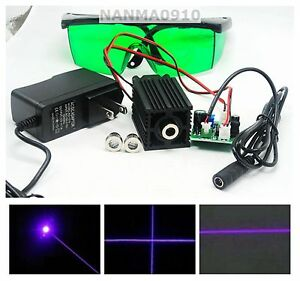 3in1 Dot line cross 100mw 405nm Violet blue Laser Diode Module W 450nm Goggles