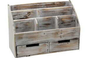 Vintage Rustic Wooden Office Desk Organizer Mail Rack For Desktop Tabletop O