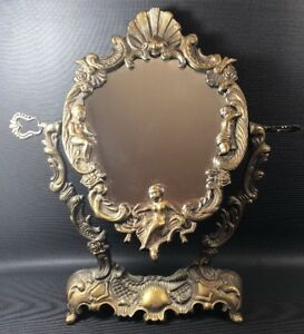Vtg Cast Metal Free Standing Mirror With Shellls And Women Decoration Ornate 20