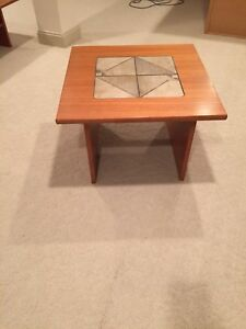 Mid Century Modern Danish Teak End Table With Inset Tile Detail
