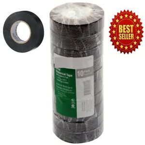 New Global Brand 60 ft Black Electrical Tape 10 Rolls Per Pack