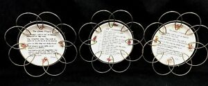 Mid Century Modern Metal Wall Art Hangings Prayer Plates Set Of 3