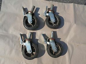 Set Of 4 Hd Industrial Locking Scaffold Casters With 8 x2 Caster Wheel