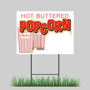12 x18 Popcorn Yard Butter Salt Corn On Cob Hot Fresh Concession Stand Sign