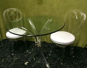 Hill Co Vintage Mcm Mid Century Hollywood Lucite Dining Bistro Table Chair Set
