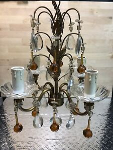 Chandelier Pampilles Murano Drop Vintage 4 Branches