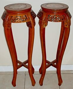 Pair Antique Chinese Carved Wood Jardiniere Stands With Inset Rouge Marble Tops