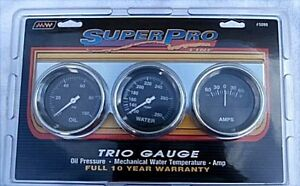 Super Pro 5099 Triple Gauge Set New Oil Water Amp Chrome Panel 2