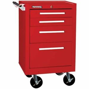 Kennedy 21040r 4 Drawer Roller Cabinet With Tubular High Security Lock red