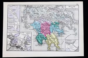 1880 Greece Map Hellas Peloponnesus Athens Sparta Corinth Thebes Rare Original