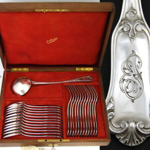 Lovely Antique French Puiforcat Hallmarked Silver 25pc Flatware Set